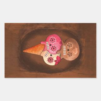 死んだ砂糖のスカルのアイスクリームの日 長方形シール