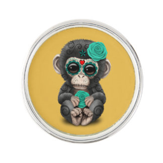死んだ砂糖のスカルのベビーのチンパンジーのティール(緑がかった色)日 ラペルピン