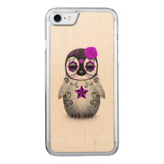 死んだ砂糖のスカルのペンギンの白の紫色日 CARVED iPhone 8/7 ケース