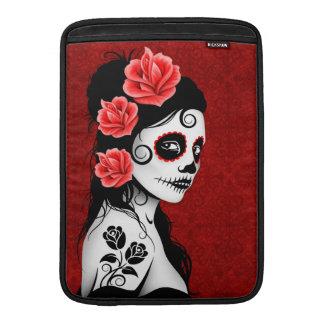 死んだ砂糖のスカルの女の子の日-赤 MacBook スリーブ