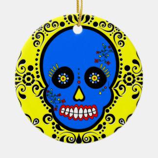 死んだ砂糖のスカルの日-青および黄色 セラミックオーナメント