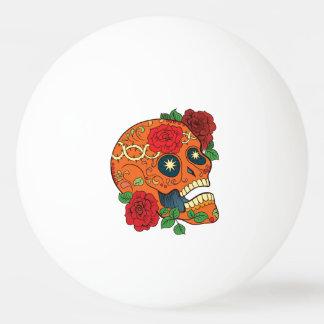 死んだ砂糖のスカルの赤いバラのオレンジ入れ墨日 卓球ボール
