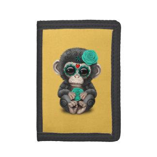 死んだ砂糖のスカルの赤ん坊のチンパンジーのティール(緑がかった色)日 ナイロン三つ折りウォレット