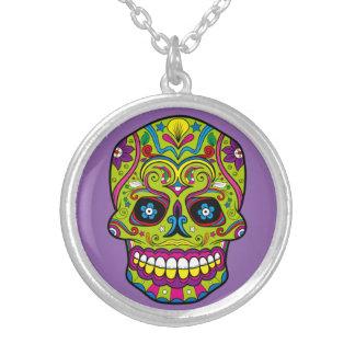 死んだ砂糖Skull Dia de los Muertosの日 シルバープレートネックレス