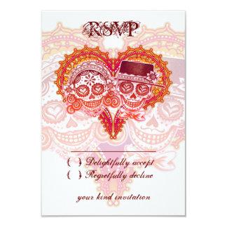 死んだ結婚RSVPカード-砂糖のスカルの日 8.9 X 12.7 インビテーションカード