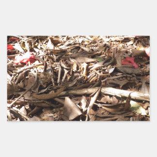 死んだ|木|葉|森林|床 長方形シールステッカー