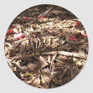 死んだ|木|葉|森林|床 丸形シールステッカー