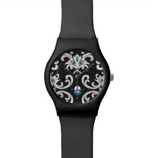 死亡時刻。 スカルおよびスタイルの腕時計 腕時計