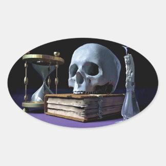 死亡率! (スカル、巻、蝋燭及び砂時計) ~ 楕円形シール