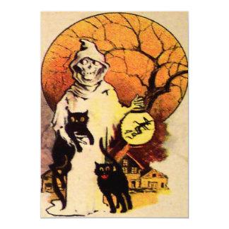 死神の黒猫の満月の木のランタンの魔法使い カード