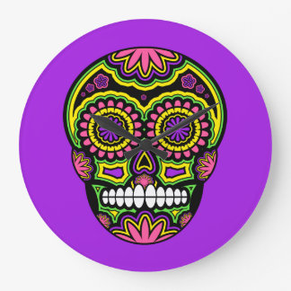 死者のカラフルなメキシコ砂糖のスカル日 ラージ壁時計
