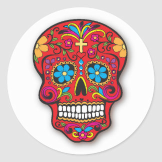死者の赤いメキシコ砂糖のスカル日 ラウンドシール