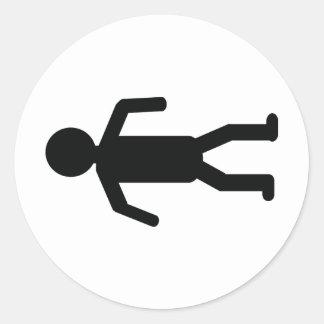 死 人 床 アイコン 丸形シールステッカー