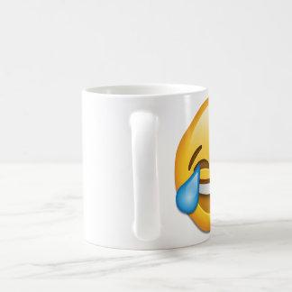 残っている喜びのemojiの破損が付いている顔 コーヒーマグカップ