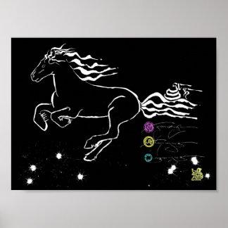 残っている馬の疾走すること(bw) [ポスター] ポスター