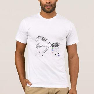 残っている馬の疾走すること(bw) [ワイシャツ] tシャツ