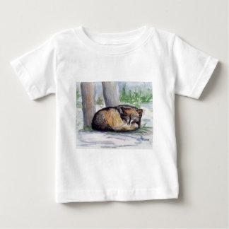 残りの幼児クリスマスのTシャツのオオカミ ベビーTシャツ
