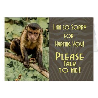 残念悲しい見るCapuchinとの私に、話して下さい カード