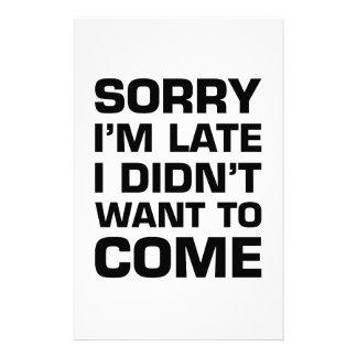 残念私は遅れます私来たいと思いませんでした 便箋