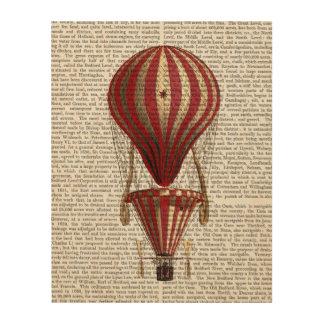 段になった熱気の気球のプリントの赤 ウッドウォールアート