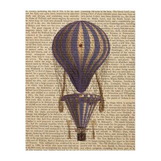 段になった熱気の気球の青 ウッドウォールアート