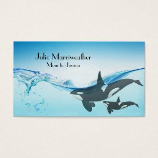 母およびベビーのシャチのクジラのお母さんカード 名刺