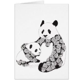 母およびベビーのパンダのイラストレーション カード