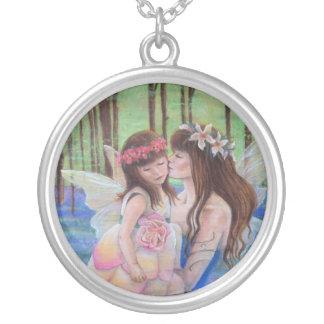 母および娘の妖精のネックレス シルバープレートネックレス