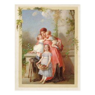 母および子供のヴィンテージの再生 ポストカード