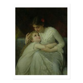母および子供(キャンバスの油) ポストカード