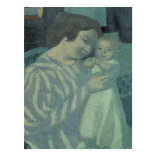 母および子供 ポストカード