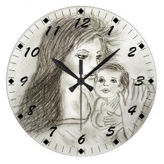 母および子供 ラージ壁時計