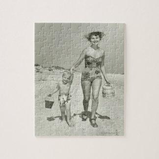 母および息子の歩く ジグソーパズル