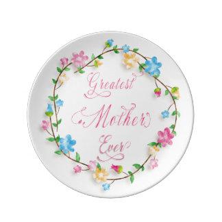 母の日のかわいらしい花のリース3のワードの芸術 磁器プレート