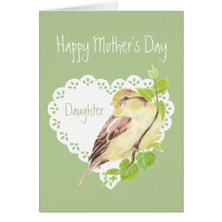 母の日のすずめの鳥の娘 カード