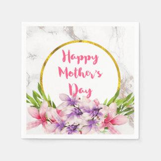 母の日のピンクおよび紫色の水彩画のマグノリア スタンダードカクテルナプキン