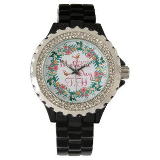 母の日の女性のラインストーンの黒のエナメルの腕時計 腕時計