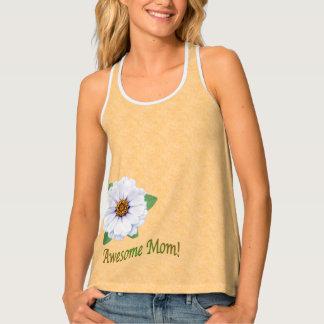 母の日の素晴らしいお母さんの白い《植物》百日草の花 タンクトップ