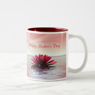 母の日の赤のスイレン ツートーンマグカップ