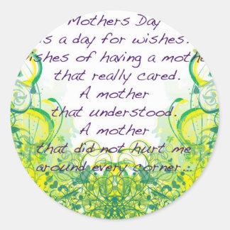 母の日は緑の黄色を望みます ラウンドシール