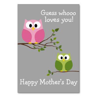 母の日-かわいいフクロウ- Whoooは愛します カード
