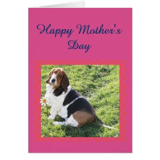 """""""母の日""""カードw/Basset猟犬、日曜日、及びデイジー カード"""