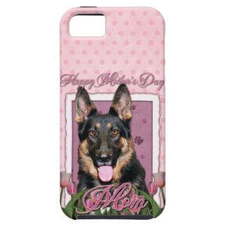 母の日-ピンクのチューリップ-クーノー-ジャーマン・シェパード iPhone SE/5/5s ケース