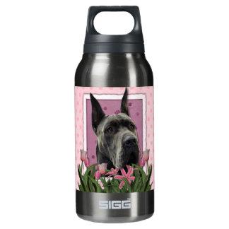 母の日-ピンクのチューリップ-グレートデーン-灰色 断熱ウォーターボトル