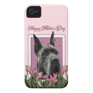 母の日-ピンクのチューリップ-グレートデーン-灰色 Case-Mate iPhone 4 ケース