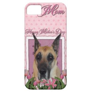 母の日-ピンクのチューリップ-グレートデーン iPhone SE/5/5s ケース