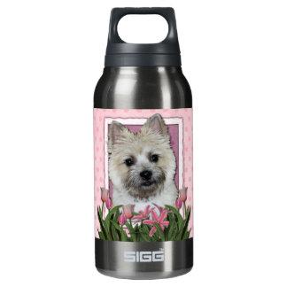 母の日-ピンクのチューリップ-ケルン-テディー・ベア 断熱ウォーターボトル