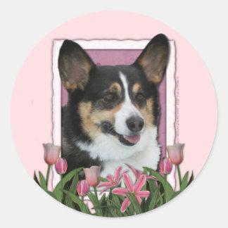 母の日-ピンクのチューリップ-コーギー 丸形シール・ステッカー