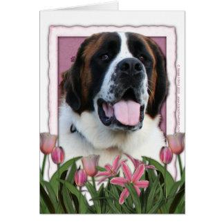 母の日-ピンクのチューリップ-サンベルナール峠- Mae カード