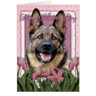 母の日-ピンクのチューリップ-ジャーマン・シェパード カード